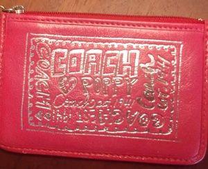 NWOT Coach Genuine Leather Poppy Key Chain Wallet